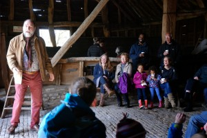 Storytelling at Landbeach Tithe Barn Open Day April 2015