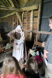 Nancy Crisp Tudor weaver at Landbeach Tithe Barn Open Day