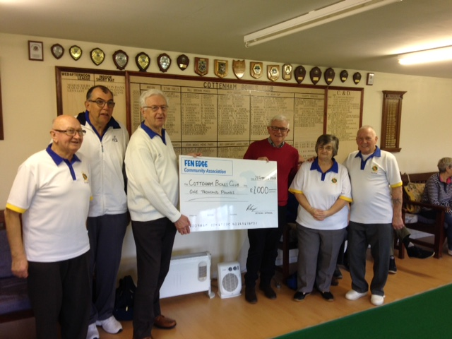Cottenham Bowls Club Cheque Presentation