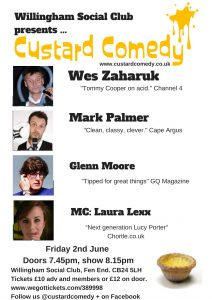 Custard Comedy returns to Willingham Social Club