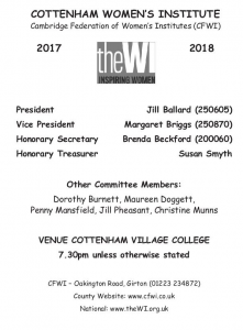 Cottenham Women's Institute Programme 2017-2018