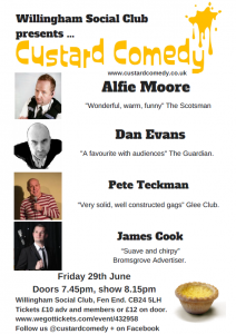 Willingham Social Club Custard Comedy June 2018